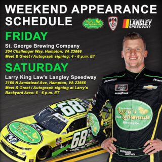 We are so excited that @bmsraceteam will be in our backyard this weekend! Be sure to catch #68 at the brewery on Friday from 4-6 for some autographs and a cold beer! Then head over to @langleyspeedway on Saturday for the Hampton Heat race and Brandon will be signing autographs from 5-6 by Larry's Backyard and doing some awesome commentating on Track Pass during the race! #brandonbrown #racing #craftbeer #supportlocal #langleyspeedway