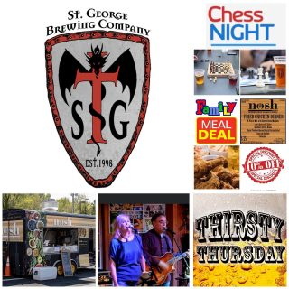 This week Monday, 12-6 with 50%off growler fills Tuesday, 12-8 CHESS NIGHT 6-8 Wednesday, 12-8 with @noshstg FAMILY MEAL DEAL and 10% off growler and/or package to go with purchase of meal Thursday, 12-9 THIRSTY THURSDAY Friday, 12-9 LIVE MUSIC with PC & J 6-9 Saturday, 11-9 YOGA ON TAP 9:30-10:30 @noshstg …. Nosh with us Tuesday-Saturday 12-close #greatbeer #greatfood #greattimes #slayingordinarybeersince1998 #beerontap #weeklyspecials #livemusic #gamenight #brewery #supportsmallbusiness